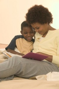 Mother Reading to Son, Child's first teacher, mother son reading